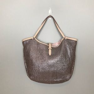 Stella & Dot Rose Gold Metallic Tote